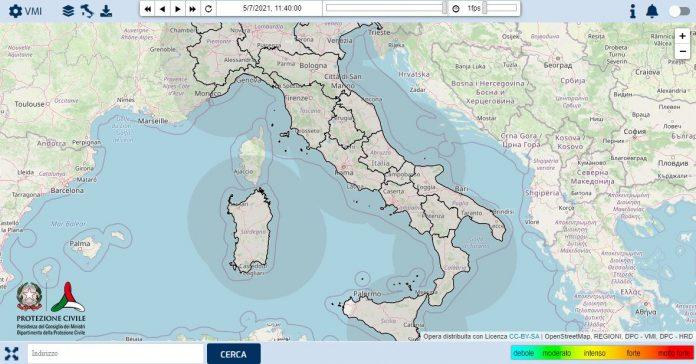 mappe del Dipartimento della Protezione Civile sulla piattaforma RADAR